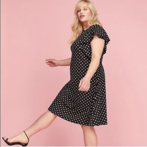🆕Lane Bryant polka dots ruffle sleeves dress